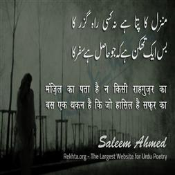 manzil kaa pataa hai na kisii raahguzar kaa-Saleem Ahmed